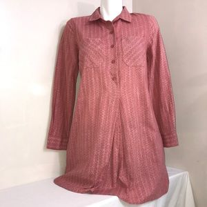 Old Navy Blush Red CollaredButton Down BlouseDress